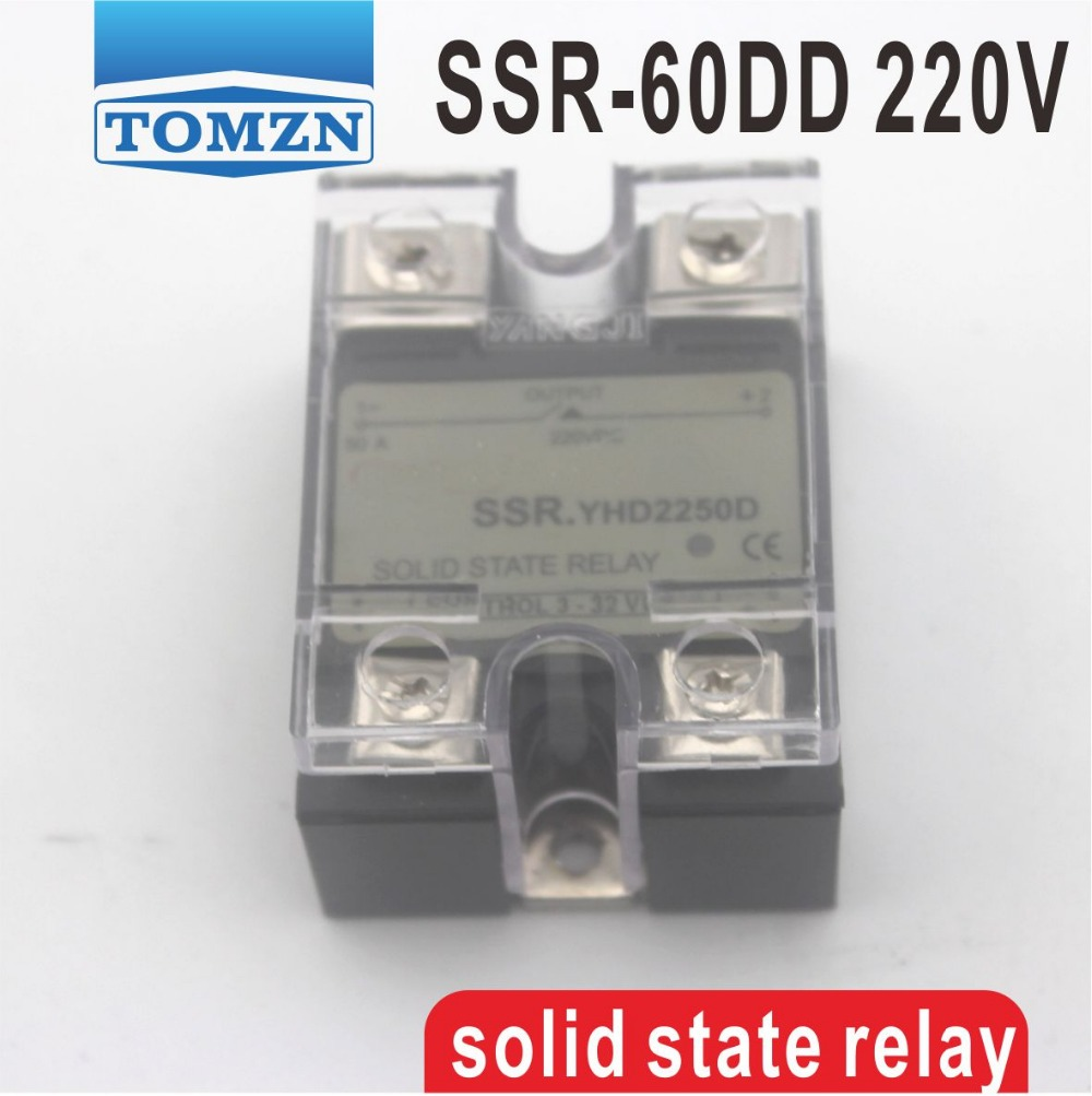 цена на 60DD SSR Control voltage 3~32VDC output 5~220VDC DC single phase DC solid state relay