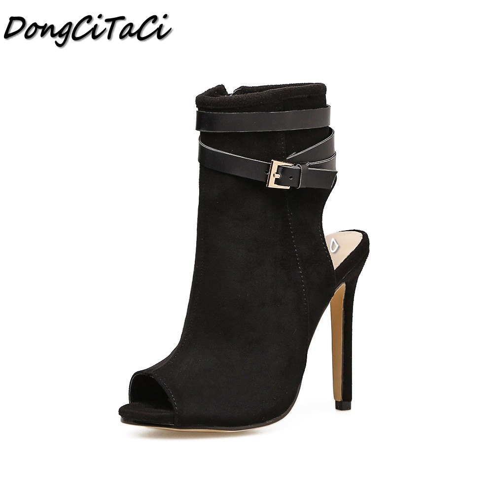 DongCiTaCi Summer Women Open toe High heels Sandals Shoes Woman Pumps Ladies Fashion sexy Gladiator Leather buckle High heels 2017 summer gold gladiator sandals platform wedges creepers casual buckle shoes woman sexy fashion high heels