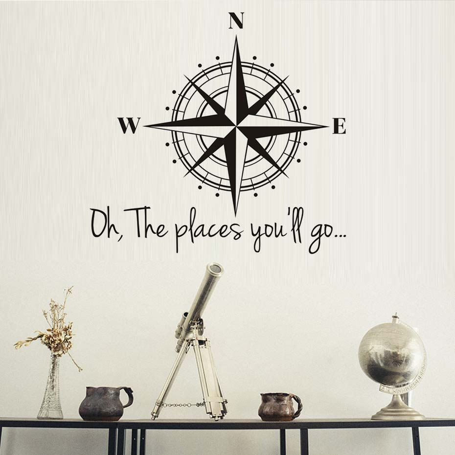 Vinyl Wall Art Decal Sticker Home Decor Oh The Places YouLl Go Compasses Wall Stickers For Office School Classroom Decoration