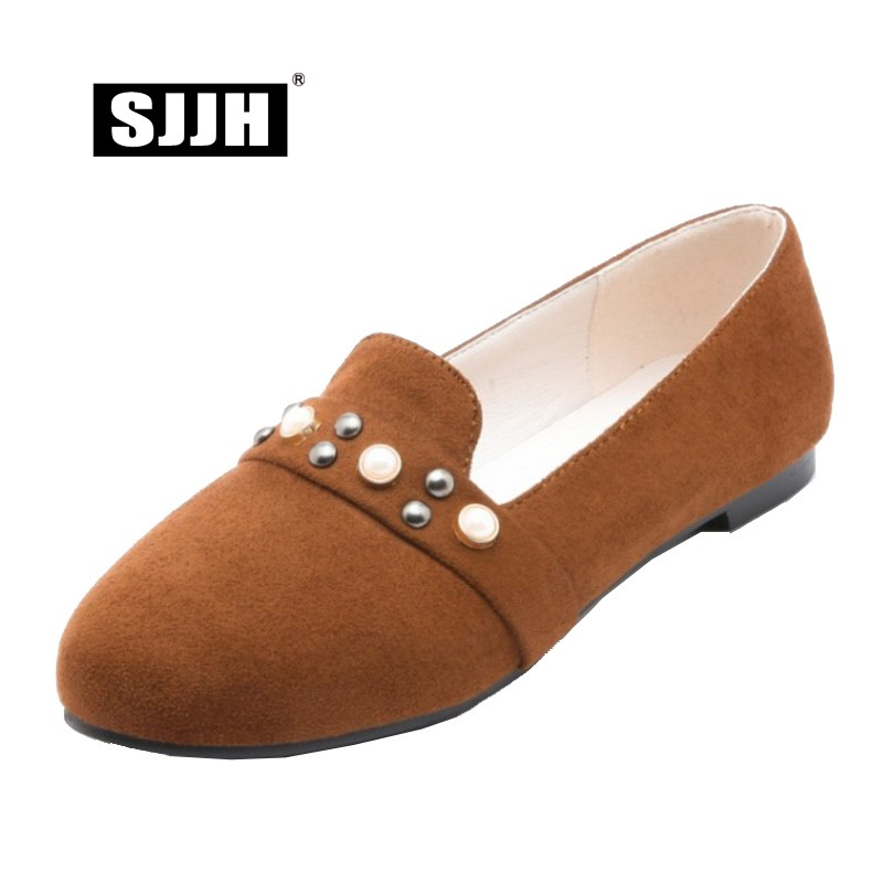 SJJH Woman Slip-on Flats with Round Toe Shallow Flock Loafers Comfortable Footwear Casual Fashion Elegant Large Size A111