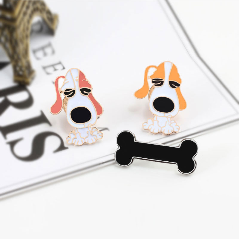 3 pieces / set dog bone cartoon brooches backpack denim jackets needle Enamel metal needle animal pattern For women badge pins