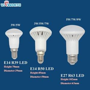 Image 2 - R50 Led lamp E14 E27 Base 3W 5W 7W 9W 12W 15W 20W Led Bulb R39 R63 R80 Br30 Br40 Spotlight AC 110V 220V 240V Warm Cold White
