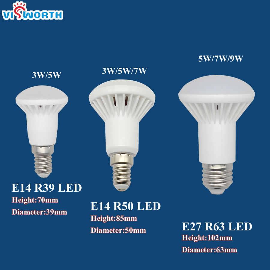 R50 lampe à Led E14 E27 Base 3 W 5 W 7 W 9 W 12 W 15 W 20 W Led Ampoule R39 R63 R80 Br30 Br40 Le Projecteur AC 110 V 220 V 240 V Chaud Blanc Froid