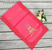 Modern red satin Table Runner embroidered lace table flag cloth cover mantel nappe Christmas tea tablecloth home Wedding decor novel circular mesh pattern lace round tablecloth transparent christmas party wedding tea table mat decoration mantel nappe