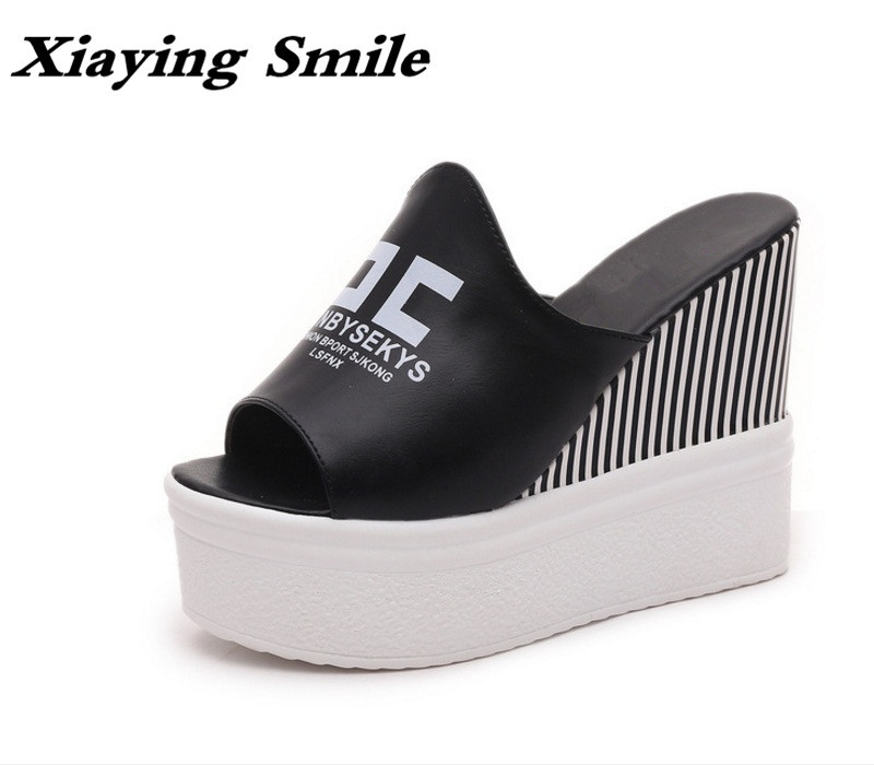 Xiaying Smile Summer New Woman Sandals Platform Slides Slippers Wedges Heel Pumps Fashion Leisure Casual Women Thick Sole Shoes phyanic 2017 gladiator sandals gold silver shoes woman summer platform wedges glitters creepers casual women shoes phy3323