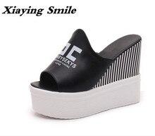 Xiaying улыбка новые летние женские босоножки на платформе шлепанцы тапочки на танкетке туфли-лодочки на каблуке; модная повседневная обувь для отдыха женская обувь на толстой подошве