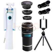 On sale New Universal Clips 12X Telephoto Zoom Lens Telescope Fisheye Wide Angle Macro Lenses Mini Selfie Stick Tripod For iPhone 6s 7 8