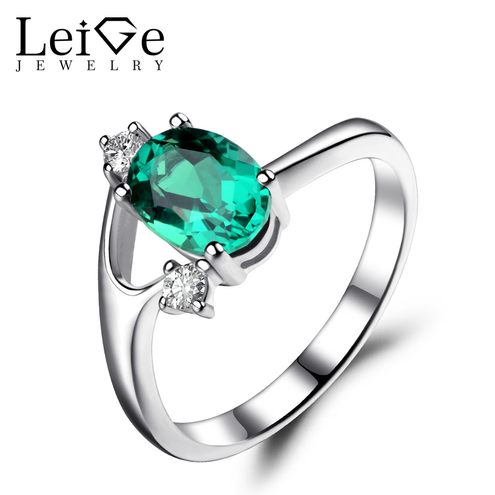 Leige Jewelry Oval Cut Emerald Engagement Ring Green Gemstone Ring 925 Sterling Silver Fine Jewelry May BirthstoneLeige Jewelry Oval Cut Emerald Engagement Ring Green Gemstone Ring 925 Sterling Silver Fine Jewelry May Birthstone