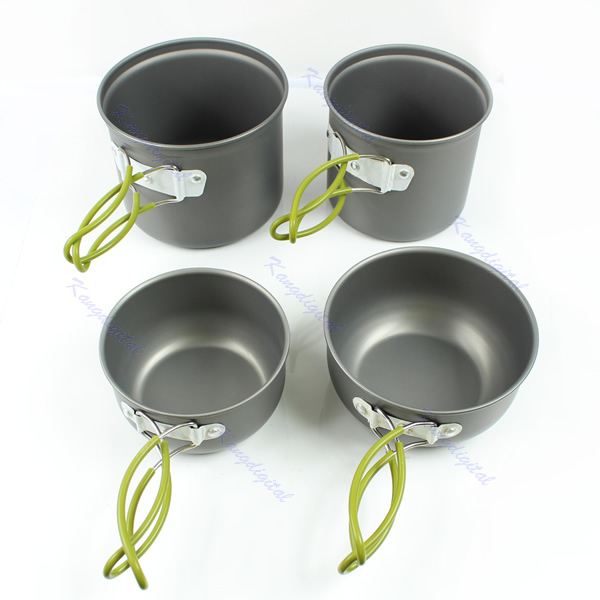 4pcs/Set Outdoor Camping Hiking Cookware Backpacking Cooking Picnic Bowl Pot Pan