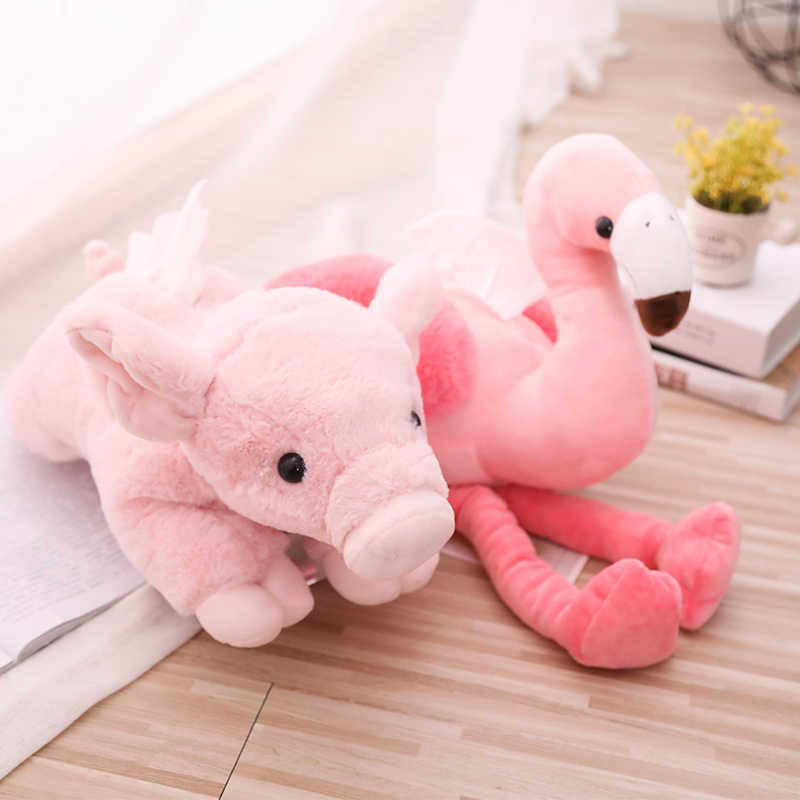 48cm Flamingo Pig Shaped Pink Bird Plush Tissue Box Case Napkin Paper Towel Holder Home Shop Decor Birthday Christmas Gift