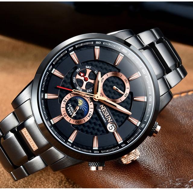 NESUN Luxury Swiss Watch Multifunctional Display Automatic Self-Wind Watch 4