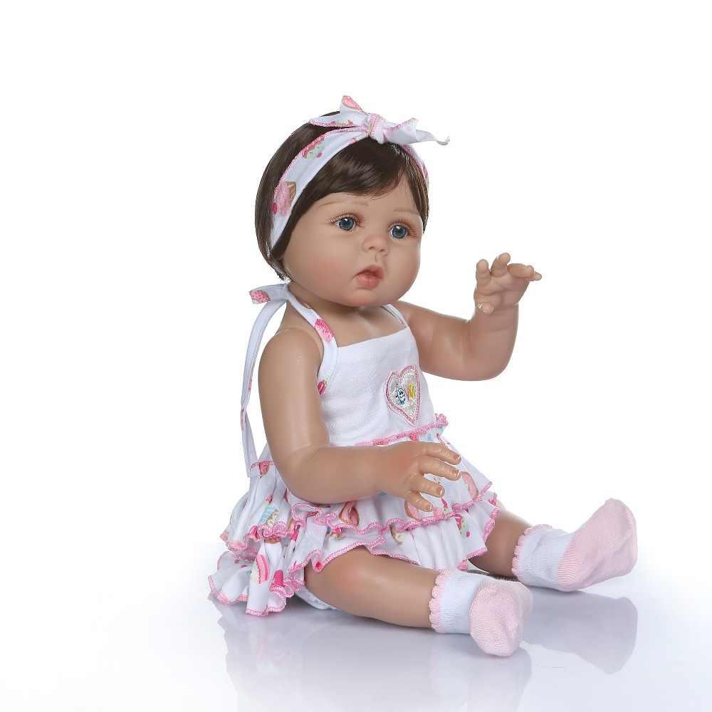 NPK 47CM noworodka bebe lalki lalka Reborn dziewczynka w tan skóry całego ciała silikonu zabawki do kąpieli lol lalki Xmas prezent