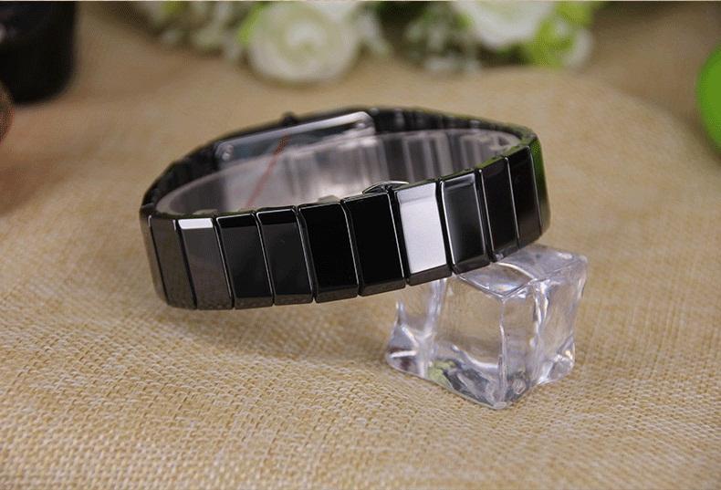 montres quartz carré bracelets noir 100% céramique