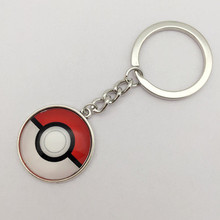 1PCS Tibetan Silver Anime Pokemon Pokeball Jewelry Glass Dome Pendant Key Ring
