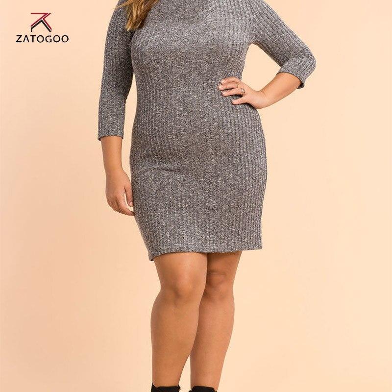 ZATOGOO Women Casual Knitted Plus Size Dress Women Dress Long Sleeve High Neck Large Winter Warm
