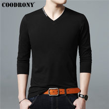 COODRONY Long Sleeve T Shirt Men Fashion Streetwear Tshirt Letter V-Neck Top Casual T-Shirt Cotton Tee Homme 95004
