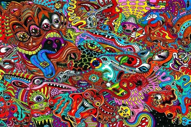 Colorl Psychedelic Desenho Surreal Art Print Parede Poster Silk Fabric  Cloth Etiqueta Wall Decor Impressão Personalizada