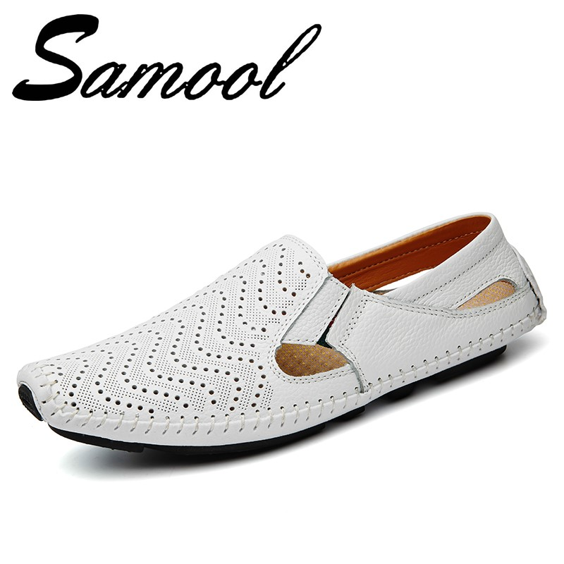 Summer Hollow Out Breathable Sandal Shoes Casual Flip Flops for Men Slip on Beach Shoe Fashion High Quality Leather Slippers Gx4