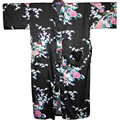 2014 NUEVO de Las Mujeres de Seda Robe Abajo ropa de Dormir Albornoz KimonoGown Peacock Impreso Kaftan Sml XL XXL XXXL S0005