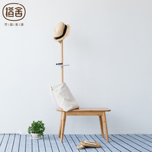 ZEN S BAMBOO Stool Footstool Creative Change shoe Stool with Coat Rack Coat Stand Bedroom furniture