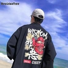 2019 japanese printing cotton linen male long sleeve kimono men cardigan black sunscreen coat Windbreaker