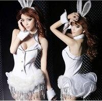 Ropa interior atractiva caliente uniformes tentaciones anime sexy traje de conejo conejos sudoroso conejo cosplay camisa con volantes mujeres sexy underwear