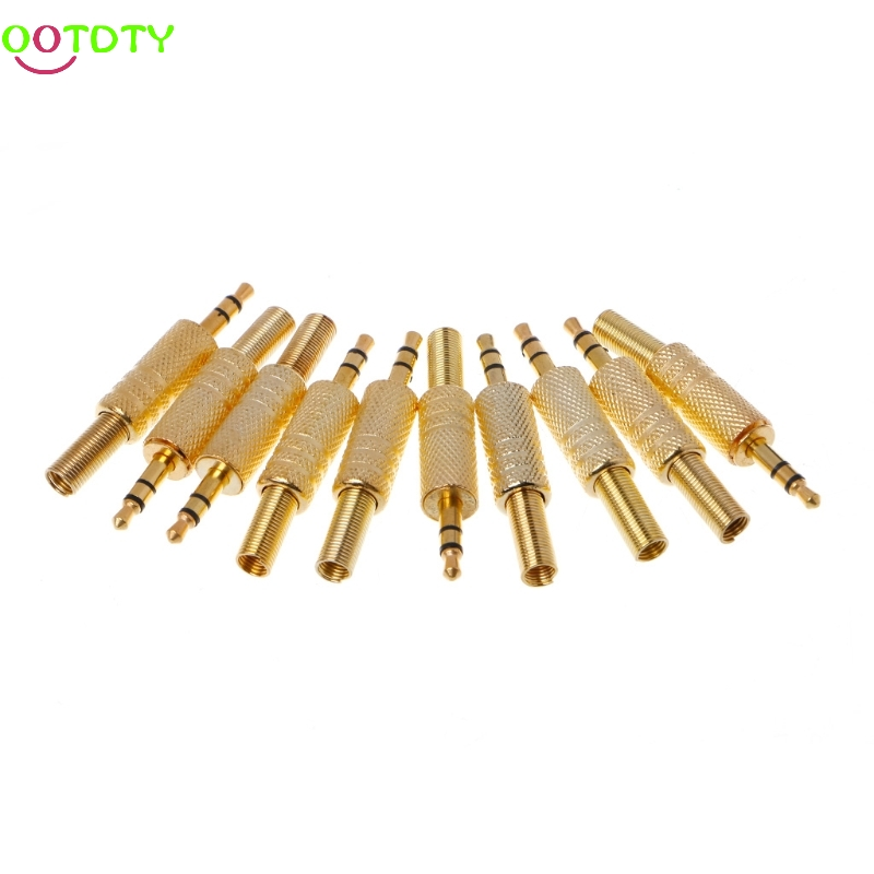 10pcs/lot gold plated 3.5mm plug RCA Audio Connector RCA audio plug jack Stereo Headset Dual Track Headphone 828 Promotion wsfs hot 10 pcs black plastic housing 3 5mm audio jack plug headphone connector