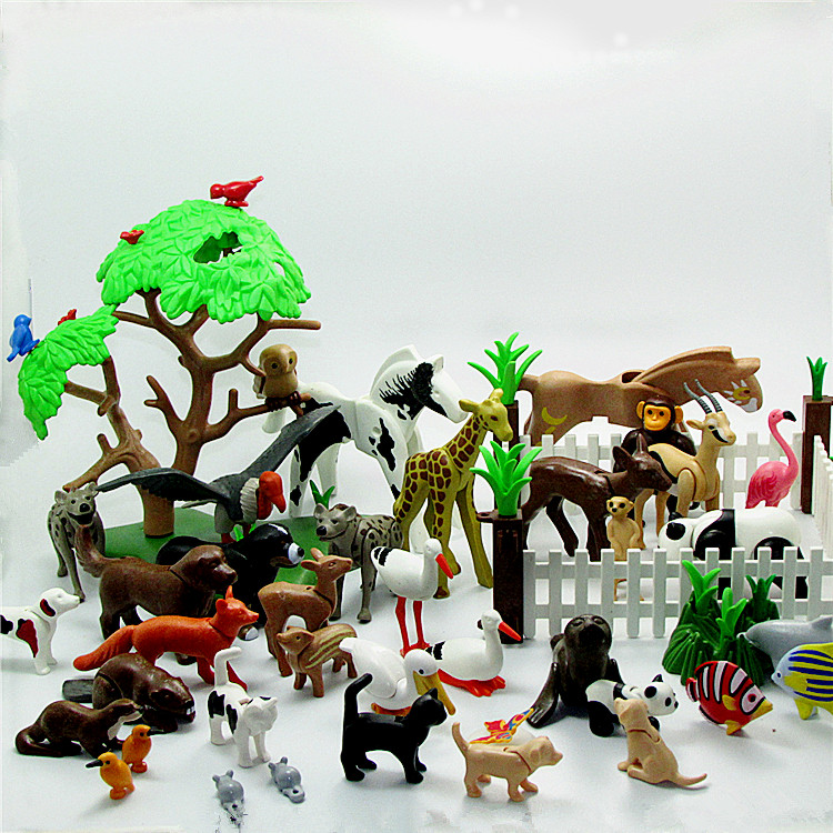 Playmobil Animals Originais Toys For Kids Fish Bird Dog Fille Toys Parrot Building Blocks Mini Figures Cosplay Christmas Toys