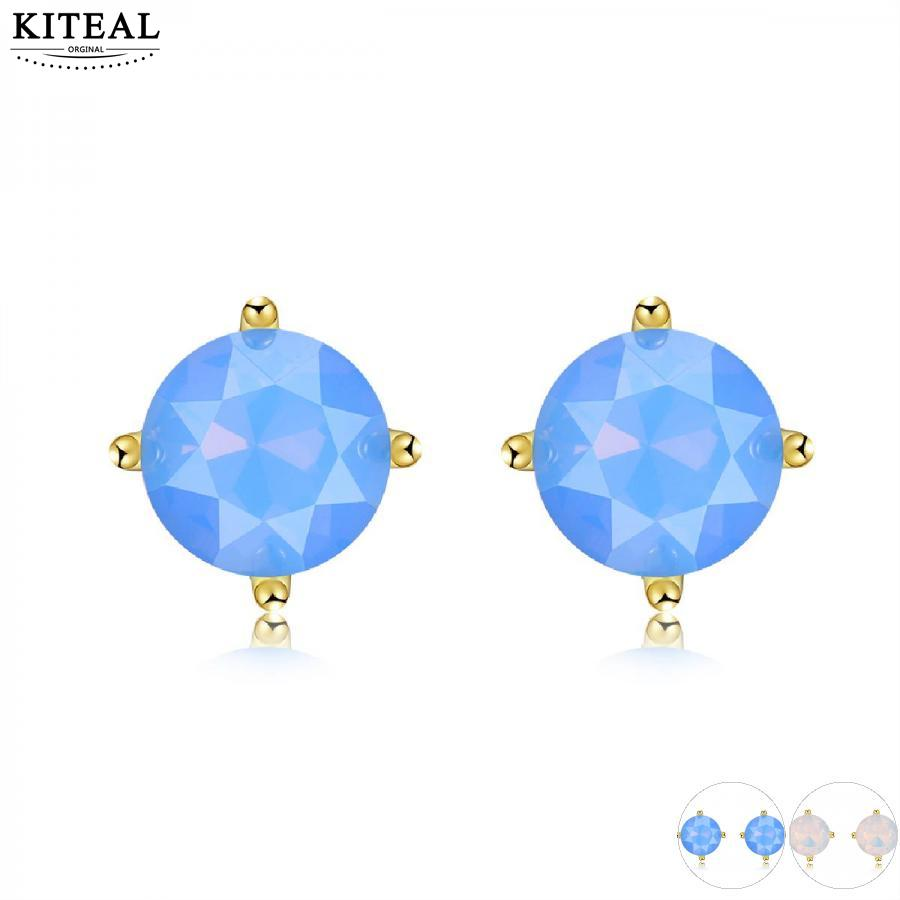 KIteal Gold Color Four-Claw Stud Earings for Women Fashion 8mm round White/Blue Fire Opal Earrings Wedding Jewelry Brincos