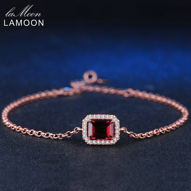 LAMOON 5X7mm 1.1ct Natural Rectangular Red Garnet 925 Sterling Silver Jewelry Rose Gold Chain Charm Bracelet S925 LMHI001