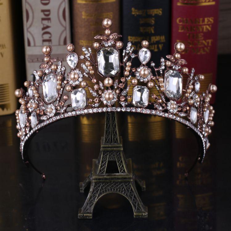 HIMSTORY Luxury Vintage Gun Black Tiara Crown Queen European Wedding Tiaras Bronze Large Crowns Cosplay Birthday Hair Jewelry in Hair Jewelry from Jewelry Accessories