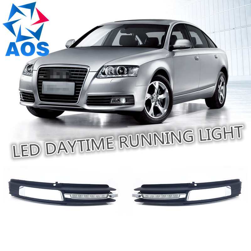 2PCs/set car styling DRL light Daylight Car LED Daytime Running light drl For Audi A6 A6L C6 2009 2010 2011 car styling 2x car light 8led drl fog driving daylight daytime running led for bmw for audi white head lamp 2pcs per set