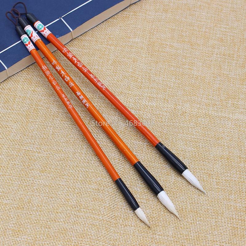 3PCS White Woolen Hair Chinese Japanese Calligraphy Brush Pen Set Art For Office School Darwing Supplies