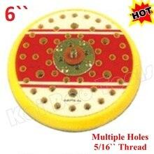150 мм шлифовальная площадка несколько отверстий 6 дюймов подложка абразивного диска колодки крюк и петля или PSA 5/16 для воздуха случайный орбитальный шлифовальный станок