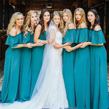 Turquoise Chiffon Boat Neck Backless A Line Elegant Special Occasion Bridesmaid Dresses Formal Vestidos Wedding Party