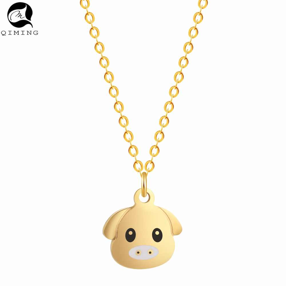 2019 Zodiac Lovely Cute Pig Necklace Girls Silver Gold Pendant Animal Necklace Statement Jewelry For Men Women Gift