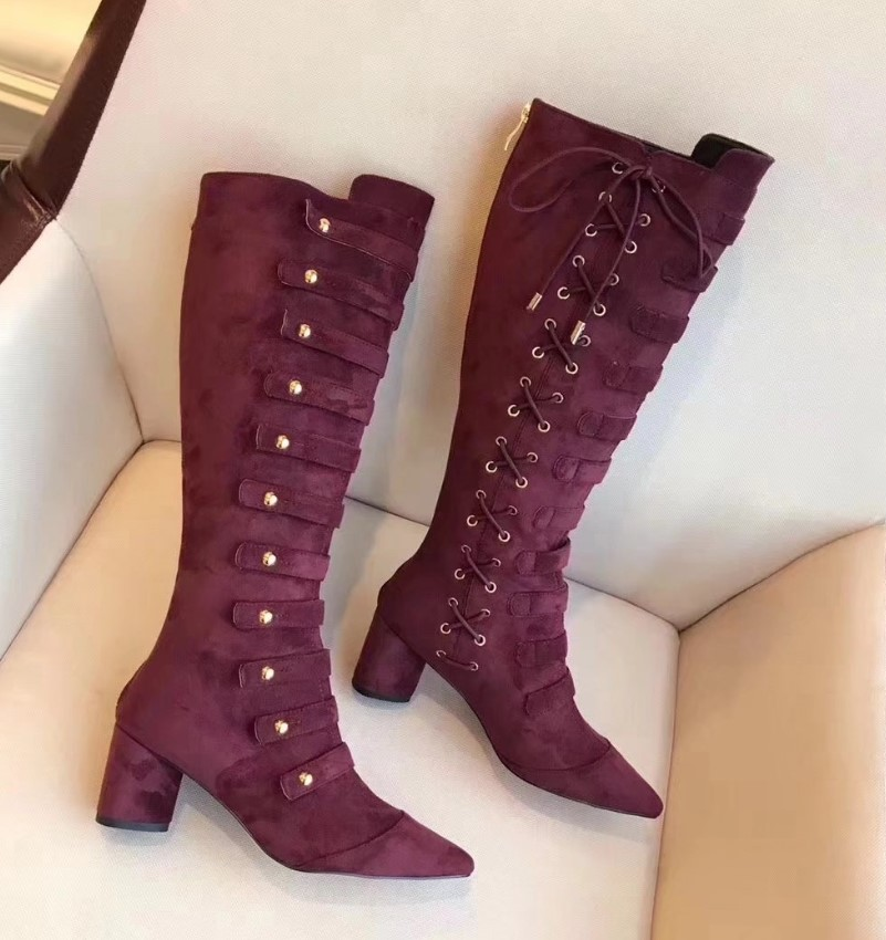 Winter Women Boots High Heels Knee High Boots Women Knight Botas Mujer Shoes Women Suede Boots Zapatos De Mujer Sapato Feminino 2017 fashion winter platform boots knee high heels women shoes woman zapatillas botas zapatos mujer zip for ladies party shoes