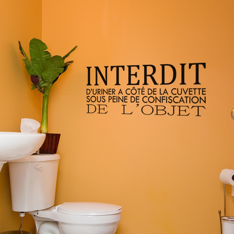 French Humor Toilettes Toilet Wall Decal Washroom WC vinyl Removable Wall Sticker Art Wallpaper Home Decor 20x45cm