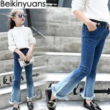 Обувь для девочек ботинки милые штаны Джинсы для женщин Детская одежда 2017 большой ребенок градиент Цвет ковбойские брюки-клеш модные корейские детские штаны