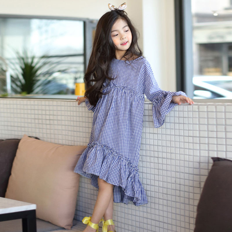 cotton ruffles kids girls dress long sleeve spring mermaid blue plaid maxi long princess dresses for girls 2018 autumn clothes long sleeve waisted maxi dress