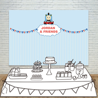 Allenjoy vinyl backdrops for photography blue cartoon cute Thomas train birthday background props newborn fabric space 10ft*20ft