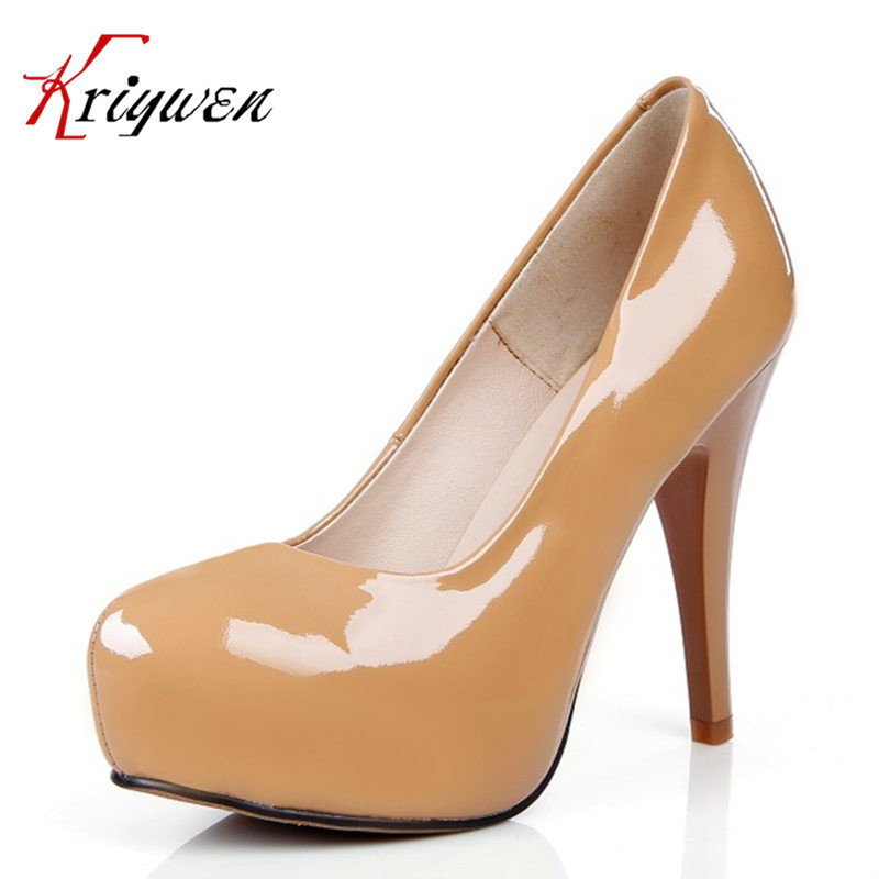 Cowhide patent leather round toe career women pumps 2016 new fall spring shallow platforms thin high heels lady footwear shoes siketu free shipping spring and autumn high heels shoes career sex women shoes wedding shoes patent leather style pumps g017