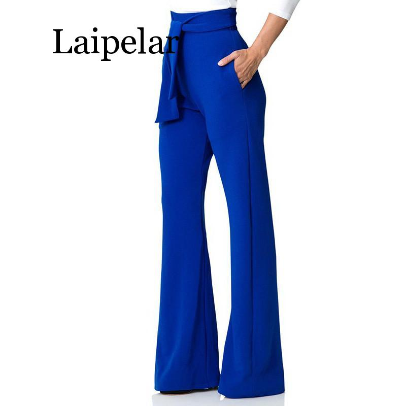 Laipelar 2019 New Sexy Stretch High Waist Flare   Pants   Women Elastic Loose   Wide     Leg     Pants   Female Solid Casual Trousers with Pocke