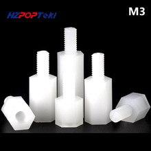 цена на Hexagonal M3 Plastic Nylon Spacer Column Screw Fastener Blind Nut Double-Screw Bolt Easy to Handle Install 500pcs