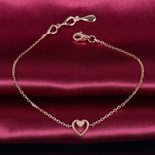 Solid 18K Rose Gold Diamond Bracelet 0.03ct Natural Diamond Heart Charm 18cm Wedding Engagement Party Jewelry