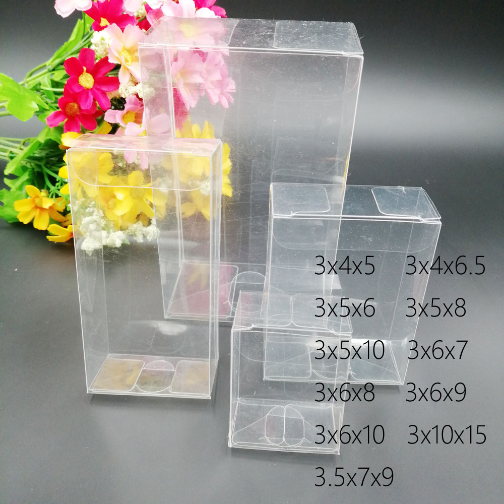 50pcs 3xWxH Pvc Box Clear Transparent Plastic Boxes Storage Jewelry Gift Box Wedding/Christmas/Candy/Party For Gift Packing Box