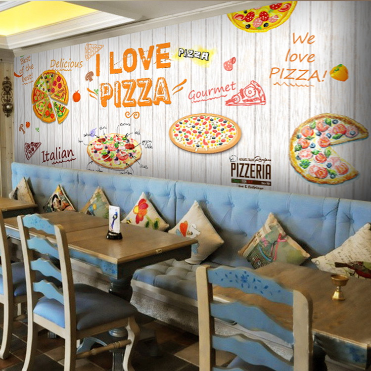 Custom Size Photo 3D Wood blackboard graffiti wallpaper Pizza shop snack bar restaurant burgers store wallpaper mural лонгслив ruxara