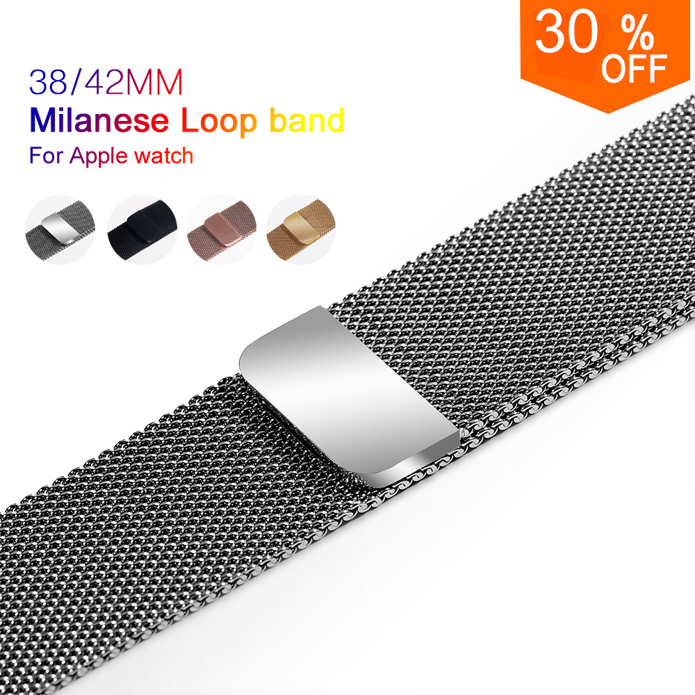 milanese loop for apple watch Series 3 sport band for iwatch stainless steel strap Magnetic adjustable buckle wt adapters wristband silicone bands for apple watch 42mm sport strap replacement for iwatch band 38mm classic stainless steel buckle clock