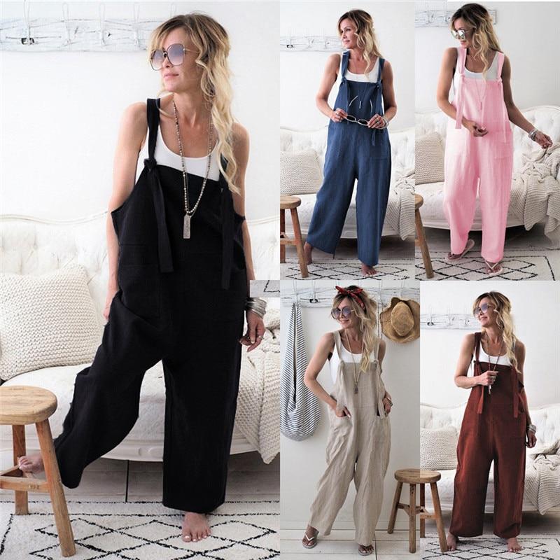 2019 Fashion Women Casual BIB Pants Cotton Linen Jumpsuit Strap Trouser Overall Solid Color Long Trouser With Pockets Harem Pant