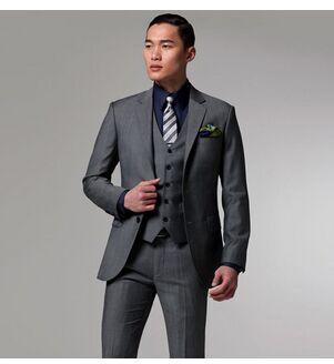 2019 New arrivals Custom Made dark gray Groom Tuxedo/Wedding Suits For Men 3 pieces ( jacket+Pants+vest)